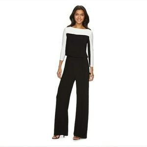 CHAPS Black/ white long sleeved jumpsuit NWT